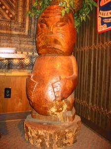 One of three cannibal tikis, originally from the Portland Kon-Tiki, at The Jasmine Tree in Portland