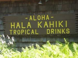 Outdoor sign at Hala Kahiki in River Grove