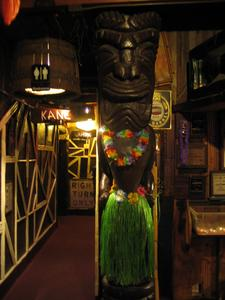 Big tiki near the washrooms at Bahooka Ribs & Grog in Rosemead