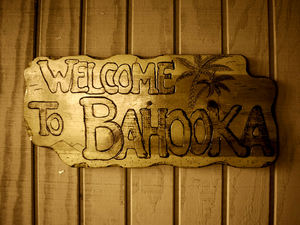 Sign on the front door at Bahooka Ribs & Grog in Rosemead