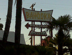 Sign for Bahooka Ribs & Grog in Rosemead