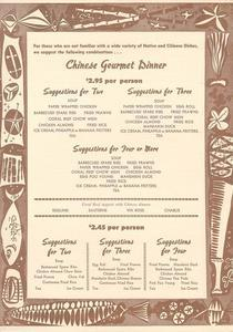 Menu for the Coral Reef Restaurant in Sacramento