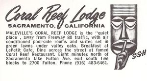 Back of a postcard from Maleville's Coral Reef Lodge in Sacramento