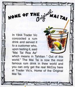 Mai Tai description in menu from Trader Vic's in Beverly Hills