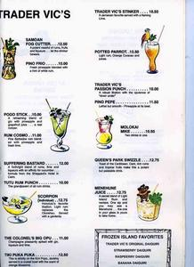 Drink menu from Trader Vic's in Beverly Hills