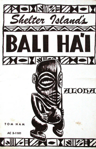 Cover of a drink menu from Bali Hai Restaurant in San Diego