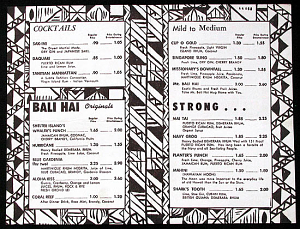 Interior of a drink menu from Bali Hai Restaurant in San Diego