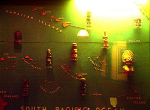 Islands of the South Pacific sculpture display at Bali Hai Restaurant in San Diego