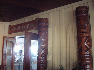 Tikis at the entrance to the South Pacific Room at Bali Hai Restaurant in San Diego
