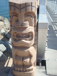 Tiki by the boat dock at Bali Hai Restaurant in San Diego
