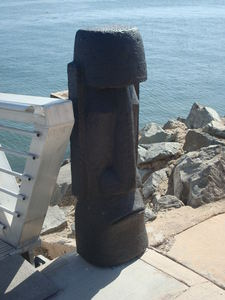 Moai by the boat dock at Bali Hai Restaurant in San Diego