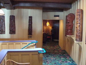 Tikis line the upstairs hallway at Bali Hai Restaurant in San Diego