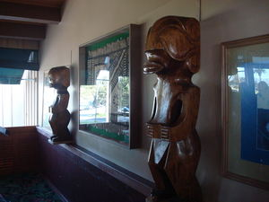 Tikis in a side buffet room at Bali Hai Restaurant in San Diego