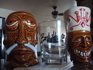 Mr. Bali Hai mug, logo glass, and Goof mug at Bali Hai Restaurant in San Diego