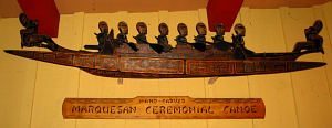 Marquesan canoe carving at Bali Hai in San Diego