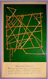 Polynesian map, using cowrie shells for islands and sticks for wave currents, at Bali Hai in San Diego