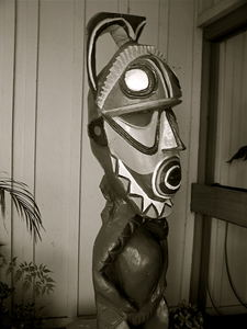 Tiki outside of front door at Bali Hai Restaurant in San Diego