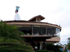 "Exterior of building and ""The Goof"" at Bali Hai Restaurant in San Diego"