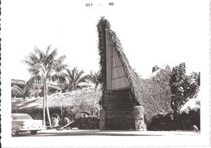 Vintage photo of the old A-frame entrance to Bali Hai Restaurant in San Diego