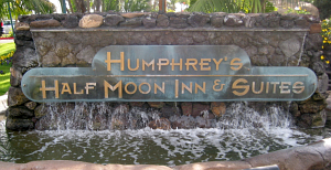 Sign for Humphrey's Half Moon Inn in San Diego
