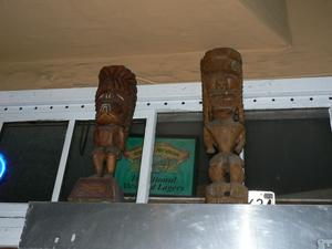 Tikis at entrance to Hawaii West in San Francisco