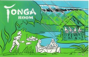 Postcard depicting the lagoon and rainstorm effect at Tonga Room in San Francisco