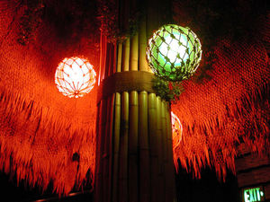 Glass floats under a palapa hut at Tonga Room in San Francisco