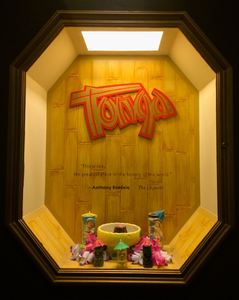 """This is like, the greatest place in the history of the world,"" Anthony Bourdain quoted in a niche at the Fairmont Hotel, advertising the Tonga Room in San Francisco"