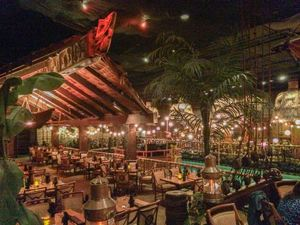 A dining room overlooking the lagoon at Tonga Room in San Francisco