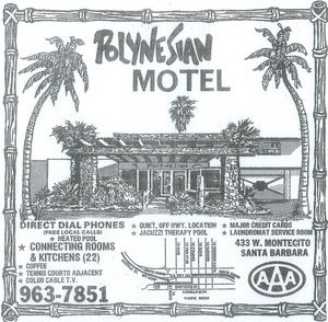 Phone book ad for Polynesian Motel in Santa Barbara