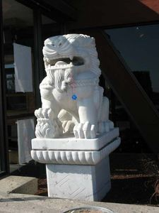 Lion statue near the entrance to Kowloon in Saugus