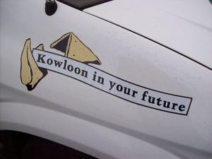 Fortune cookie graphic on a vehicle belonging to Kowloon in Saugus