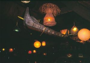 Ceiling in main dining room with war canoe at Trader Vic's in Scottsdale