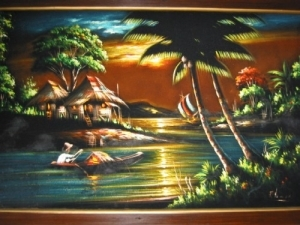 Velvet painting hanging behind the bar in the Humuhumu Room