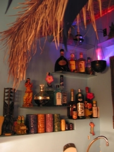 Shelves behind the bar in the Humuhumu Room