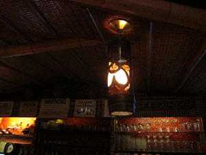 A tiki lamp in the bar at Jade Island in Staten Island