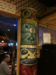 Tiki at the entrance to the bar at Jade Island in Staten Island