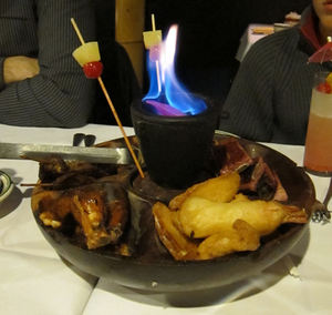 A flaming pupu platter at Jade Island in Staten Island