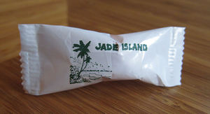 A dinner mint from Jade Island in Staten Island