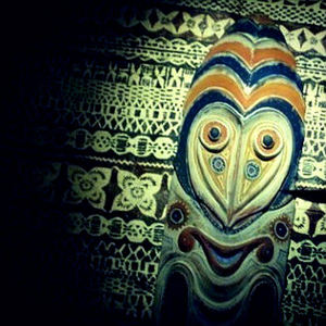 Papua New Guinea mask mounted on tapa cloth at Tiki Room in Stockholm