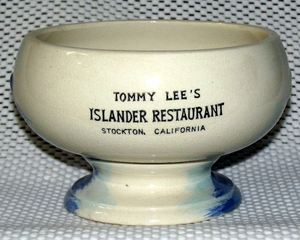 Back of a small surfer bowl from The Islander in Stockton