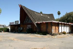 The relocated and abandoned building that once housed The Islander in Stockton