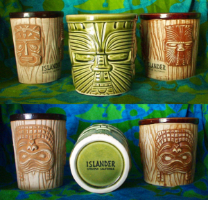 Tall bucket mug, short bucket mug and Maori-face bucket mug from the Islander in Stockton