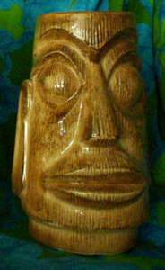Unusual moai mug from the Islander in Stockton