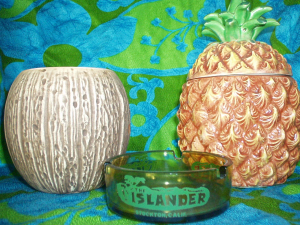 Coconut mug, pineapple mug and ashtray from the Islander in Stockton