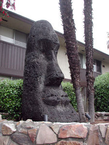 Moai in front of Bali Hai-Outrigger Apartments in Stockton