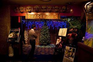 Entrance with Christmas decorations at Trader Vic's in Tokyo