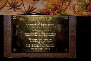 "Plaque for Gazelle sculpture: ""Gazelle by Victor J. Bergeron (Trader Vic) Presented in Friendship to Yoneichi Otani from The Bergeron family, September 1966,"" at Trader Vic's in Tokyo"