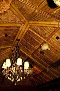 Bamboo and thatch ceiling in the reception area at Trader Vic's in Tokyo
