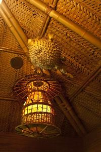 Birdcage and pufferfish lamps at Trader Vic's in Tokyo